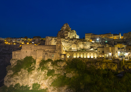 Matera, Italy - 28 April 2018 - The historic center of the wonderful stone city of southern Italy, Basilicata region, a tourist attraction for the famous Sassi old town.