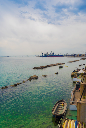 Taranto, Italy - The historic center of a big city in southern Italy, on the sea with industry port, in a spring day.