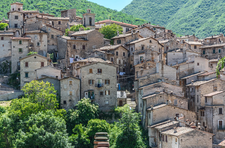 Scanno, Italy - 2 June 2018 - The medieval village of Scanno, plunged over a thousand meters in the mountain range of the Abruzzi Apennines, province of LAquila Editorial