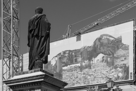 L'Aquila, Italy - 12 September 2015 - The historic center of Abruzzo capital, central Italy, destroyed by an earthquake in 2009, now under reconstruction