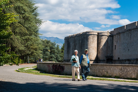 L'Aquila, Italy - 12 September 2015 - The historic center of Abruzzo capital, central Italy, destroyed by an earthquake in 2009, now under reconstruction. Here the castle