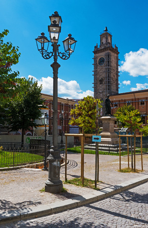 LAquila, Italy - 12 September 2015 - The historic center of Abruzzo capital, central Italy, destroyed by an earthquake in 2009, now under reconstruction