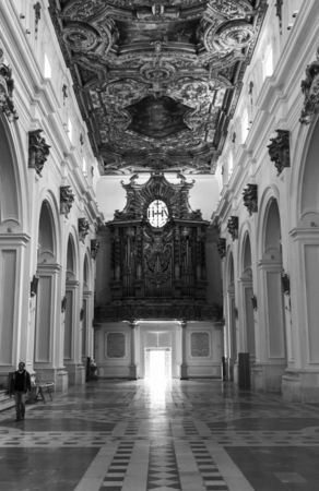 LAquila, Italy - 12 September 2015 - The historic center of Abruzzo capital, central Italy, destroyed by an earthquake in 2009, now under reconstruction. Here the interior of a church