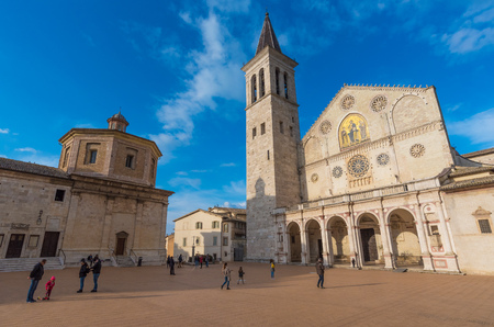 Spoleto, Italy - 23 March 2018 - The historic center of the charming medieval village in Umbria region with the famous Duomo church 新闻类图片