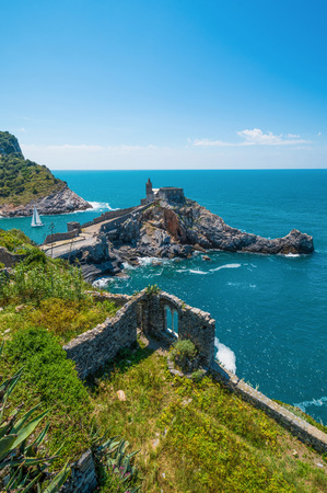 Porto Venere, Italy - 16 May 2016 - The town on the sea also know as Portovenere, in the Ligurian coast, province of La Spezia; with villages of Cinque Terre designated by UNESCO World Heritage Site 報道画像