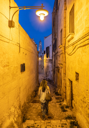 Matera, Italy - 30 June 2018 - The historic center of the stone city of southern Italy, a tourist attraction for the Sassi old town. Here during the feast of patron saint, called Festa della Bruna Editorial