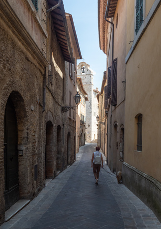 San Gemini, Italy - 22 July 2018 - The very nice medieval hill town in Umbria region, province of Terni, in a summer sunday morning. Here a view of historic center. Editorial