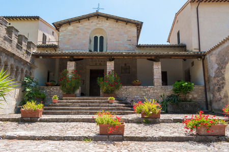 Spello, Italy - 28 June 2016 - The awesome medieval town in Umbria region, central Italy, during the floral competition after the famous Spello's intfiorate. Here a view of historic center. Editorial