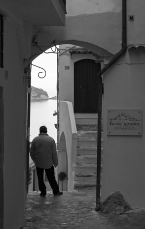 Sperlonga, Italy - 6 December 2015 - The touristic white city on the sea during the winter, province of Latina. Here in particular a view of suggestive historic center