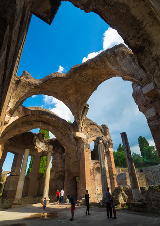 Tivoli, Italy - 2 September 2018 - The famous archaeological park of Tivoli, in the province of Rome, with the ruins of an entire city of the Roman empire called Villa Adriana.