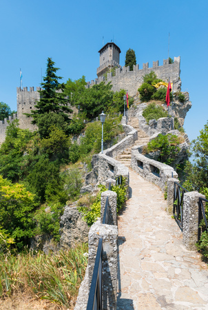 Republic Of San Marino - 18 July 2015 - The historic center in stone of the tiny charming State located north of the Italian peninsula, Emilia Romagna region. Here in particular during a medieval revisitation