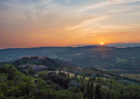 Todi (Umbria, Italy) - The suggestive medieval town of Umbria region, in a summer evening. Archivio Fotografico