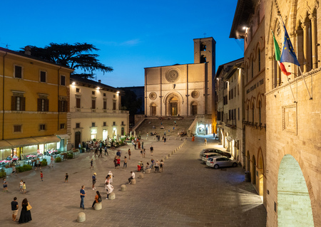 Todi, Italy - 3 August 2018 - The suggestive medieval town of Umbria region, in a summer evening. Here a view of historic center. Editorial