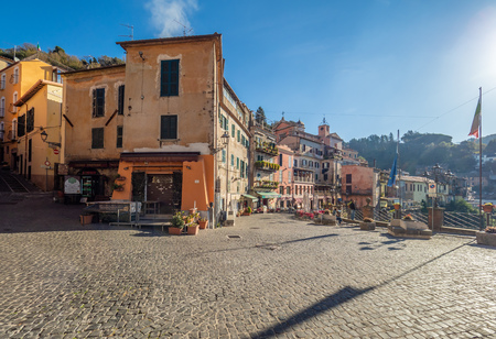 Nemi, Italy - 11 November 2018 - A nice little town in the metropolitan city of Rome, on the hill overlooking the Lake Nemi, a volcanic crater lake. Here a view of historic center. Editorial