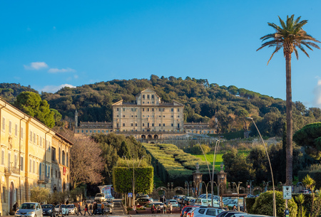 Frascati, Italy - 11 November 2018 - A little city of Castelli Romani in metropolitan area of Rome, famous for the many Villa of pontifical nobility. Here a view of historic center.