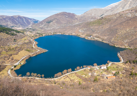 Lake Scanno (L'Aquila, Italy) - When nature is romantic: the heart - shaped lake on the Apennines mountains, in Abruzzo region, central Italy