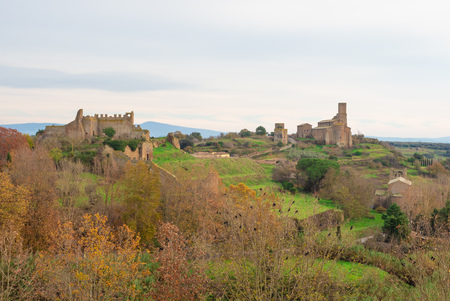 Tuscania (Italy) - A gorgeous etruscan and medieval town in province of Viterbo, Tuscia, Lazio region. Its a tourist attraction for the many churches and the lovely historic center. Stock Photo