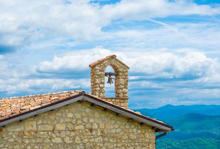 Cicolano (Italy) - The green mountain area of Salto Lake, Lazio region province of Rieti, with the ruins of medieval castle named Poggio Poponesco
