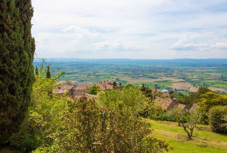 Cortona (Italy) - The awesome historical center of the medieval and renaissance city on the hill, Tuscany region, province of Arezzo, during the spring
