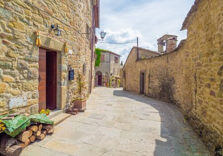 Cortona, Italy - 25 May 2019 - The awesome historical center of the medieval and renaissance city on the hill, Tuscany region, province of Arezzo, during the spring