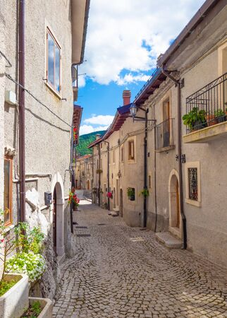 Opi (Italy) - The little and suggestive stone town on the hill, in the heart of National Park of Abruzzo, Lazio and Molise. Here a view of historic center during the summer. Reklamní fotografie