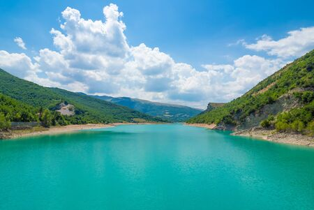 Fiastra lake and Lame Rosse canyon - Naturalistic wild attraction in the Monti Sibillini National Park, province of Macerata, Marche region, central Italy