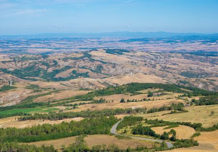 Radicofani (Italy) - The view from the medieval and renaissance town on Val d'Orcia, famous for ruins of an old castle; Tuscany region, province of Siena