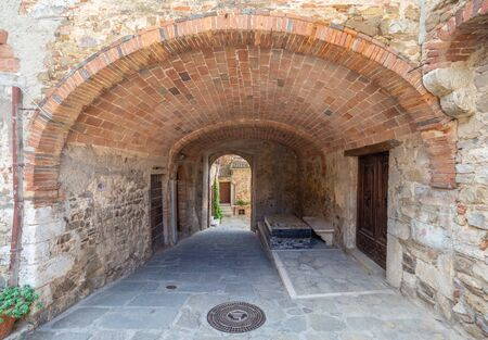 Montemerano (Italy) - The awesome historical center of the medieval and renaissance stone town in Tuscany region, on the hill; province of Grosseto.