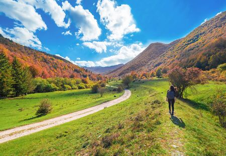 National Park of Abruzzo, Lazio and Molise (Italy) - The autumn with foliage in the italian mountain natural reserve, with little towns, wild animals like deer, Barrea Lake, Camosciara, Forca d'Acero Stock Photo