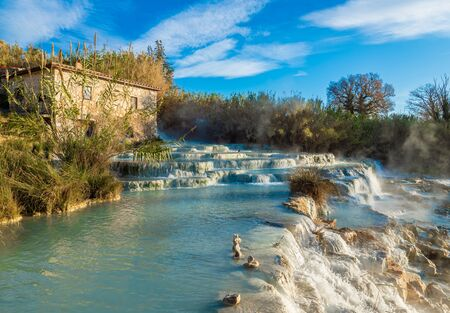 Saturnia (Tuscany, Italy) - The thermal sulphurous water of Saturnia, province of Grosseto, Tuscany region, during the winter