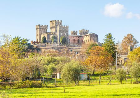 Torre Alfina (Lazio, Italy) - The sacred and magical wood called Bosco del Sasseto during the autumn with foliage, beside the medieval village with castle