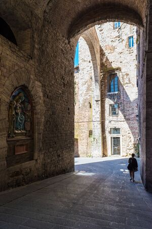 Perugia (Italy) - The suggestive medieval city, capital of Umbria region, in central Italy. Here a view of artistic historical center. Banque d'images - 143476680