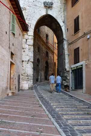 Perugia (Italy) - The suggestive medieval city, capital of Umbria region, in central Italy. Here a view of artistic historical center. Banque d'images - 143476713