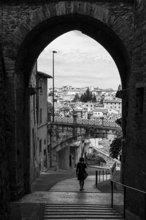 Perugia (Italy) - The suggestive medieval city, capital of Umbria region, in central Italy. Here a view of artistic historical center. Banque d'images - 143476722