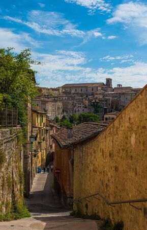 Perugia (Italy) - The suggestive medieval city, capital of Umbria region, in central Italy. Here a view of artistic historical center. Banque d'images - 143476733
