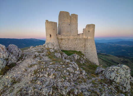 Santo Stefano di Sessanio, Italy - 12 June 2020 - The ruins of Rocca Calascio, old medieval village with castle and church, 1400 meters above sea level on Apennine mountains, heart of Abruzzo region Editorial