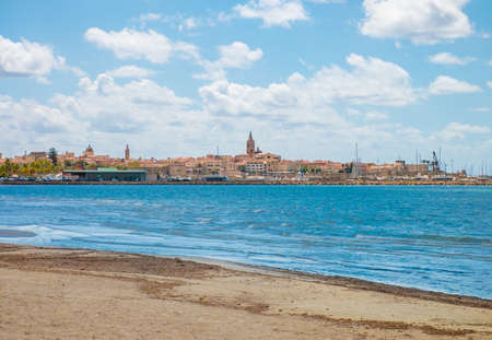 Alghero, Italy - 31 August 2020 - The touristic city in Sardegna region and island, province of Sassari. Here a view of historical center.