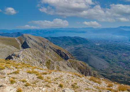 Monte Velino (Italy) - The beautiful landscape summit of Mount Velino, one of the highest peaks of the Apennines with its 2487 meters. In the Sirente-Velino natural park, Abruzzo region.