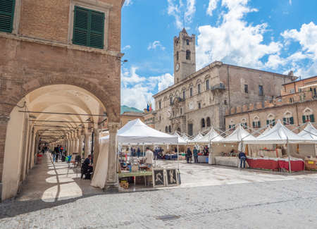 Ascoli Piceno, Italy - 18 May 2019 - The beautiful medieval and artistic city in Marche region, central Italy. Here a view of historical center. Editorial