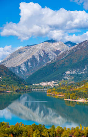National Park of Abruzzo, Lazio and Molise (Italy) - The autumn with foliage in the mountain natural reserve, with little towns, Barrea lake, Camosciara and Val Fondillo landmark.