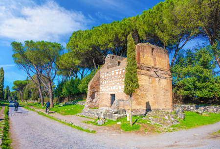 Rome, Italy - 20 February 2021 - A view of the archeological ruins in the Appian Way of Roma, the most important Roman road of the ancient empire. Redakční