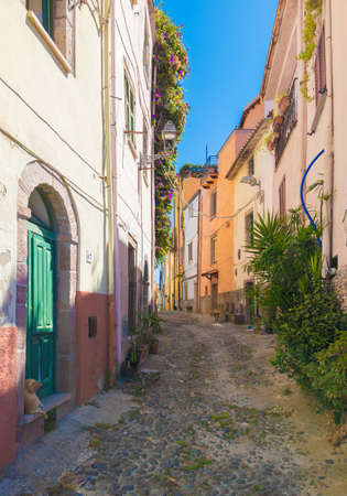 Bosa (Sardinia, Italy) - A view of the touristic and charming colorful old town in the marine coast of Oristano, one of the most beautiful on the island of Sardegna. Reklamní fotografie - 167141686
