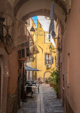 Bosa (Sardinia, Italy) - A view of the touristic and charming colorful old town in the marine coast of Oristano, one of the most beautiful on the island of Sardegna. Reklamní fotografie - 167159144