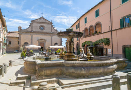 Tuscania, Italy - 2 June 2020 - A view of historical center in the etruscan and medieval town, province of Viterbo, Tuscia, Lazio region, touristic attraction. Editorial