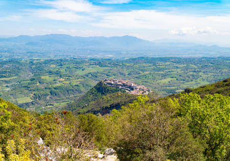 Sant'Oreste (Italy) - A landscape in Mount Soratte with old hermitages in the mountain natural reserve in province of Rome, during the spring.
