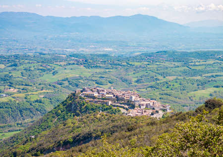 Sant'Oreste (Italy) - A landscape in Mount Soratte with the mountain natural reserve in province of Rome, during the spring.