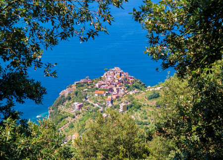 Corniglia (Italy) - A view of Monterosso, one of Five Lands villages in the coastline of Liguria region, part of the Cinque Terre National Park