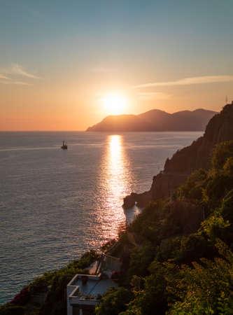 A view of Riomaggiore (Italy), the coastline of Liguria region, part of the Cinque Terre National Park