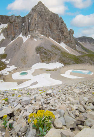 Monte Redentore and Pilato lake (Italy) - The landscape summit of Mount Redentore with Pilato lake, between the regions Umbria and Marche. One of the highest peaks of the Apennines, in Monti Sibillini
