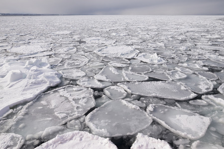 parting the sea: ice sheet in ocean Stock Photo